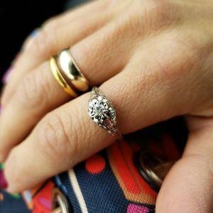 Jewelry - Art Deco Diamond Wedding Engagement Ring Platinum